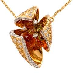 Floral Diamond Sapphire Gold Italian Pendant Necklace