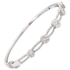 Floral Diamond Swirl Bangle 1.24 Carat 18 Karat White Gold