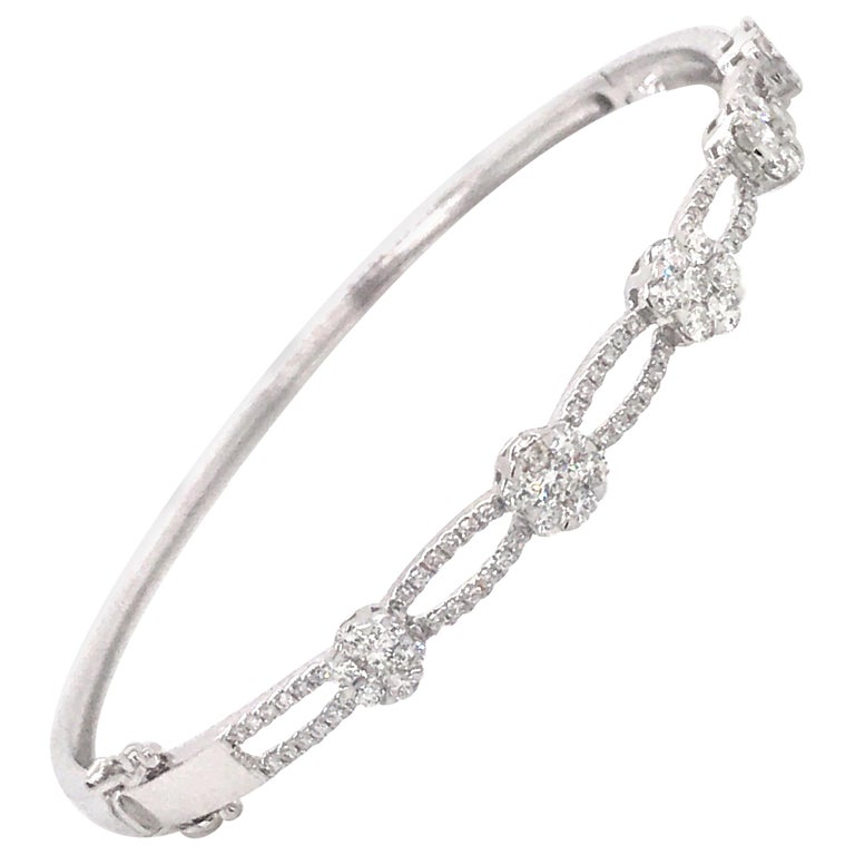 Floral Diamond Swirl Bangle 1.24 Carat 18 Karat White Gold For Sale