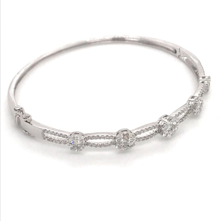 Floral Diamond Swirl Bangle 1.24 Carat 18 Karat White Gold In New Condition For Sale In New York, NY