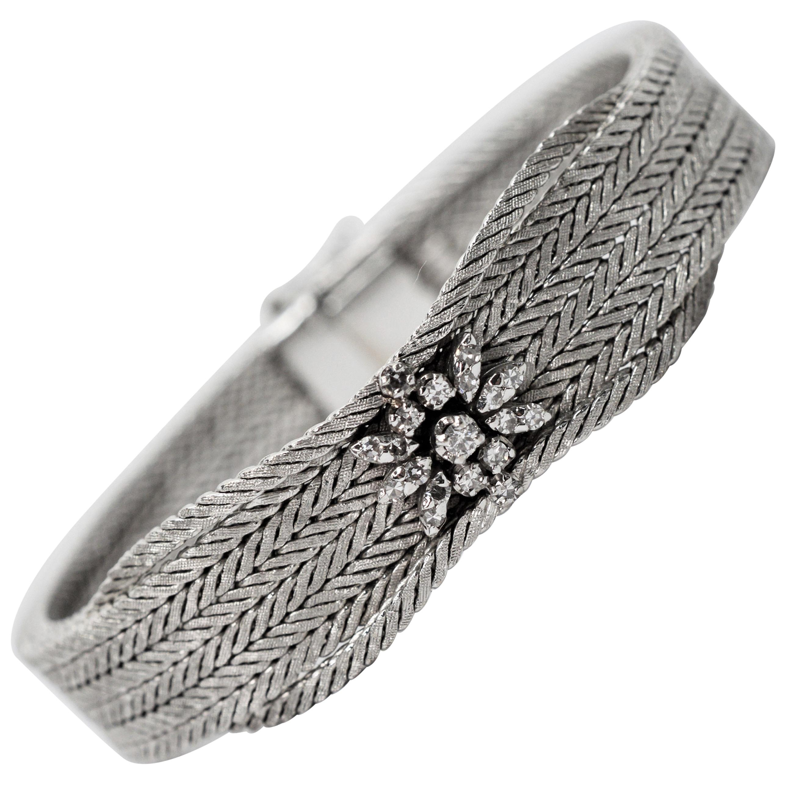 Floral Diamond White Gold Herringbone Bracelet