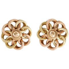 Floral Dual Tone Gold Stud Earrings