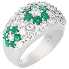 Floral Emerald and Diamond Ring, Platinum