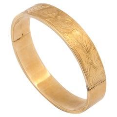 14 Karat Gold Floral Etched Hinged Bangle Bracelet