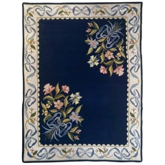 Floral European Portuguese Needlepoint Embroidered Arraiolos Rug in Blue & Cream