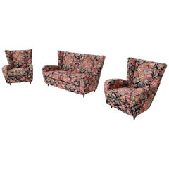 Floral Fabric Living Room Set by Paolo Buffa with Wooden Legs, Italy, 1950s