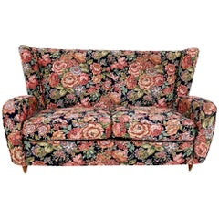 Floral Fabric Sofa by Paolo Buffa for Hotel Bristol Merano, Italy, 1950s