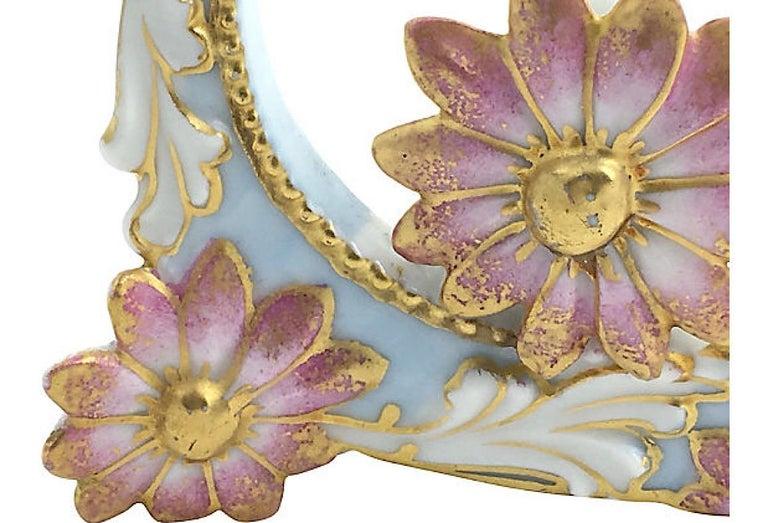 Floral Flower and Moon Porcelain Menu Holder For Sale 1