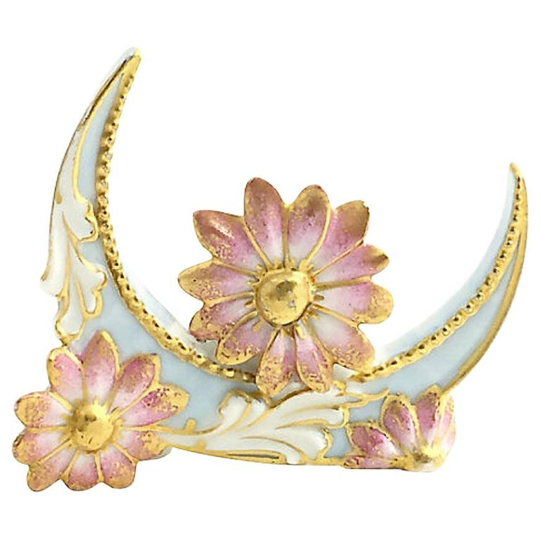 Floral Flower and Moon Porcelain Menu Holder For Sale