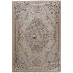 Floral French Design Aubusson Cream Needlepoint Chinese Rug