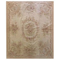Floral French Design Aubusson Cream Needlepoint Chinese Rug Hand woven