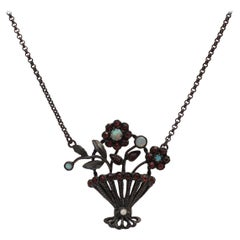 Floral Garnet Necklace