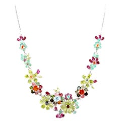 Floral Gem Necklace- 34 ct- Peridot,Tourmaline,Sapphire,Emerald,Sterling Silver