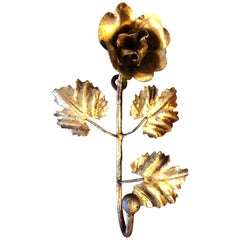 Gilt Iron Hook in the shape of a Rose