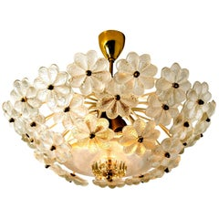 Floral Glass and Brass Flushmount Chandelier by Ernst Palme, 1970s