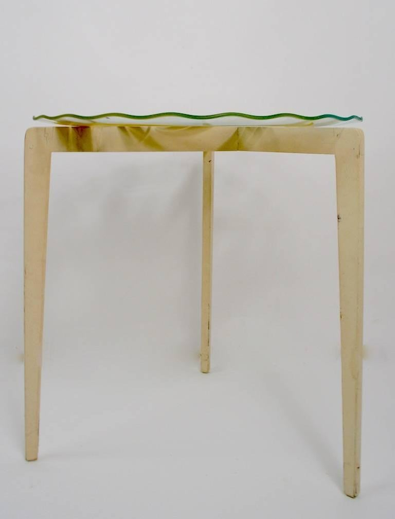 Mid-Century Modern Floral Glass Top Tables For Sale