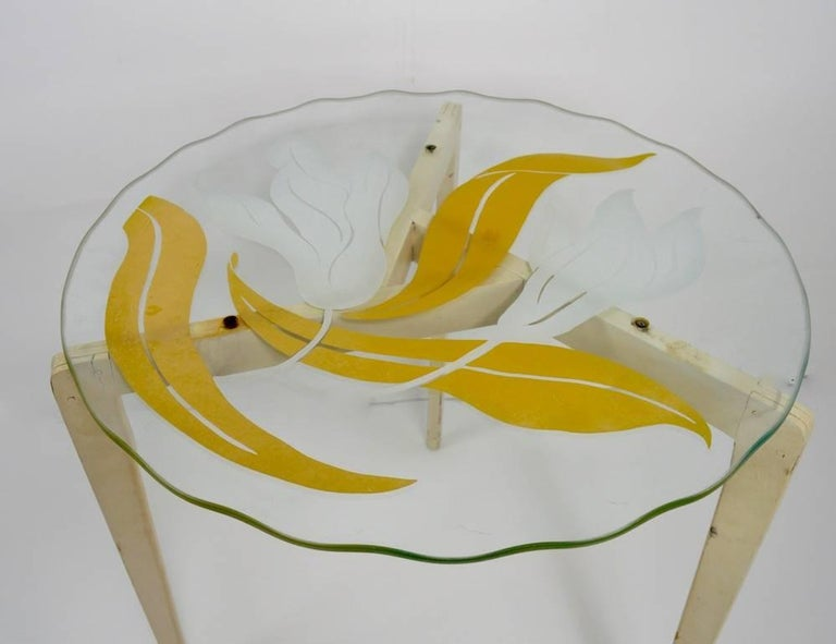 American Floral Glass Top Tables For Sale