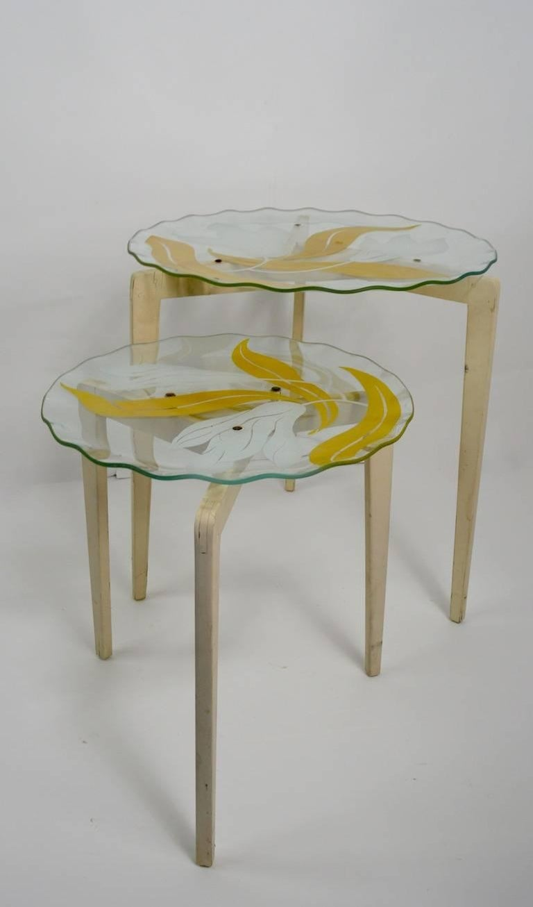 Floral Glass Top Tables In Good Condition For Sale In New York, NY