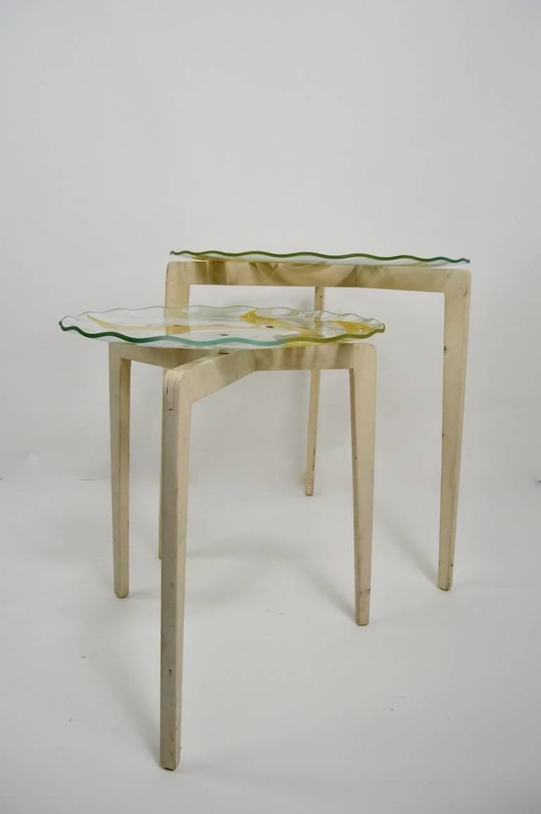 20th Century Floral Glass Top Tables For Sale