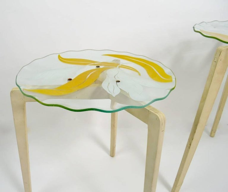 Floral Glass Top Tables For Sale 1