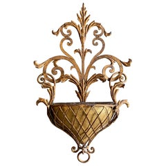 Floral, Golden Florentine Wall Plant Pot, 20th Century
