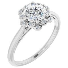 Floral Halo Diamond Accented Round Brilliant GIA Certified Engagement Ring