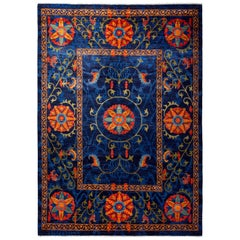 Floral Hand Knotted Area Rug in Blue New Zealand Wool