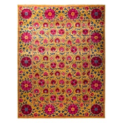 Floral Hand Knotted Area Rug in Red New Zealand Wool