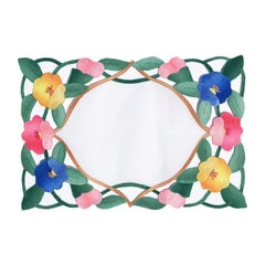 Floral Hand Stitched Placemats in Pink Green Blue and Yellow Set of 4