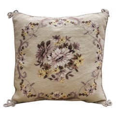 Floral Handmade Cushion Cover, Needlepoint Cream Purple Wool Scatter Cushion