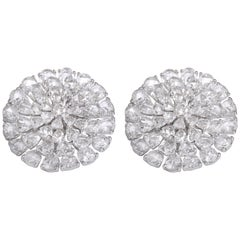 Floral inspired 11.22 carats Fancy shape Rose Cut White Diamond Earrings Studs
