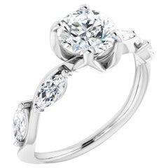 Floral Inspired Diamond Accented GIA Certified Round Brilliant Engagement Ring