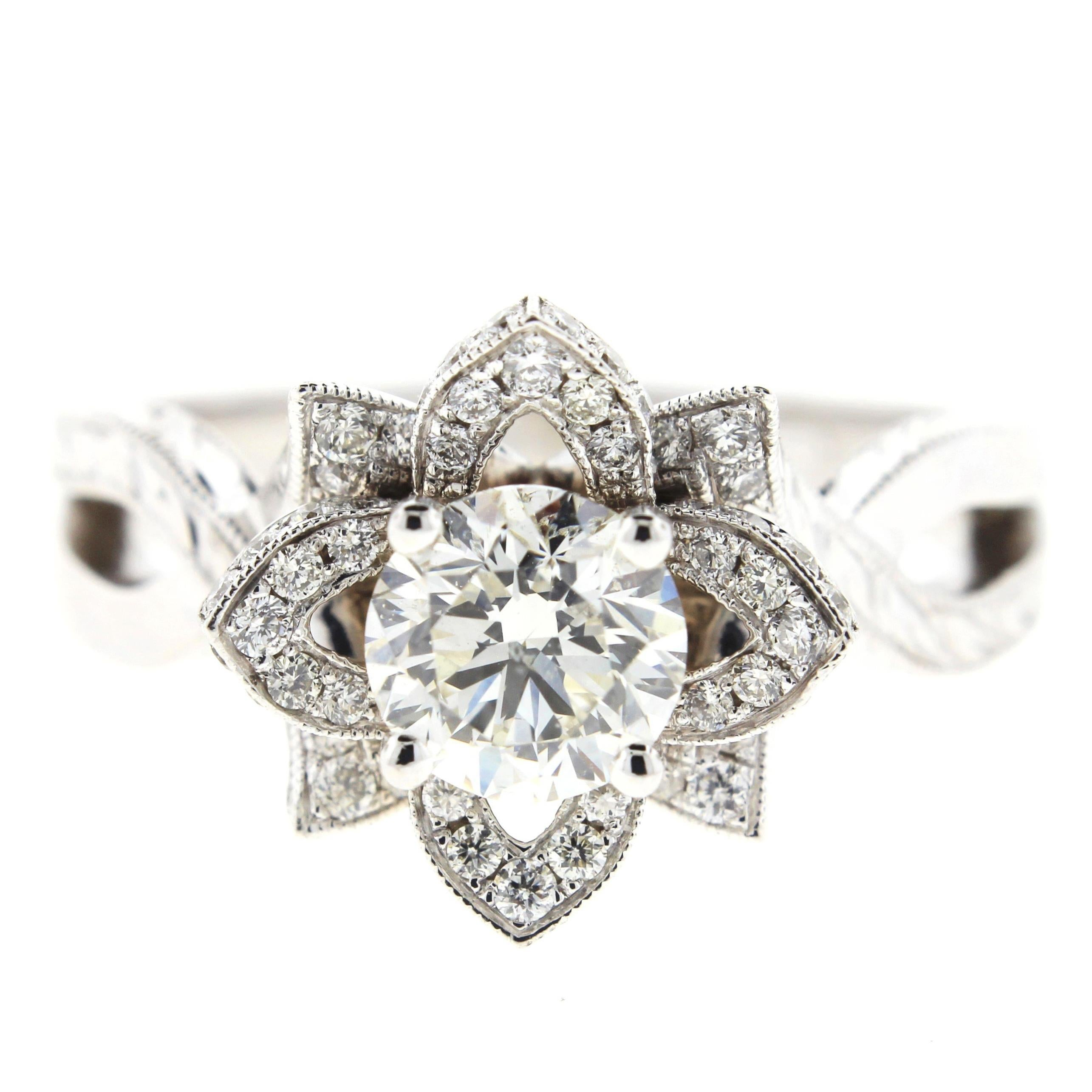 Floral Inspired Diamond Engagement Ring 'GIA'
