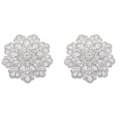 Floral Inspired Fancy Shape Rose Cut Top White Designer Diamond Earrings Studs