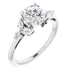 Floral Inspired Marquise Diamond Accented Round GIA Certified Engagement Ring
