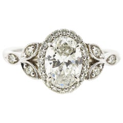 Floral Inspired Oval Diamond Engagement Ring 'Certified'