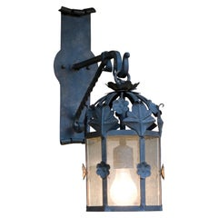 Floral Iron Lantern on Bracket