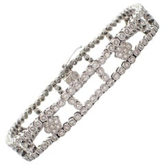 Floral Ladder Diamond Bracelet in 18 Karat White Gold