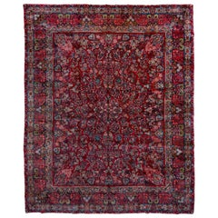 Floral Large Antique Persian Sarouk Carpet, circa 1940s