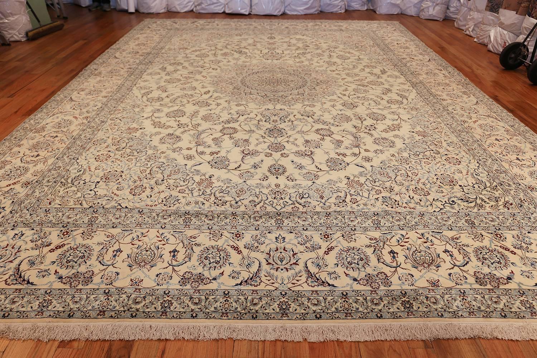 Fl Large Silk And Wool Vintage Nain Persian Rug