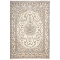 Floral Large Silk and Wool Vintage Nain Persian Rug. Size: 11 ft 6 in x 17 ft