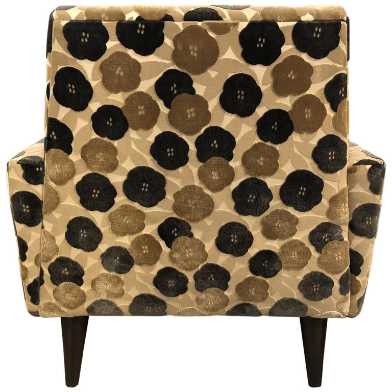 Floral Lounge Chair Modern Midcentury In Good Condition For Sale In Pasadena, CA