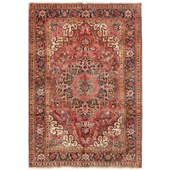 Floral Medallion Vintage Persian Heriz Rug in Red, Blue
