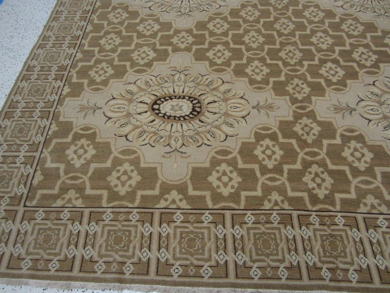 European Floral Medallions Tan Rug For Sale