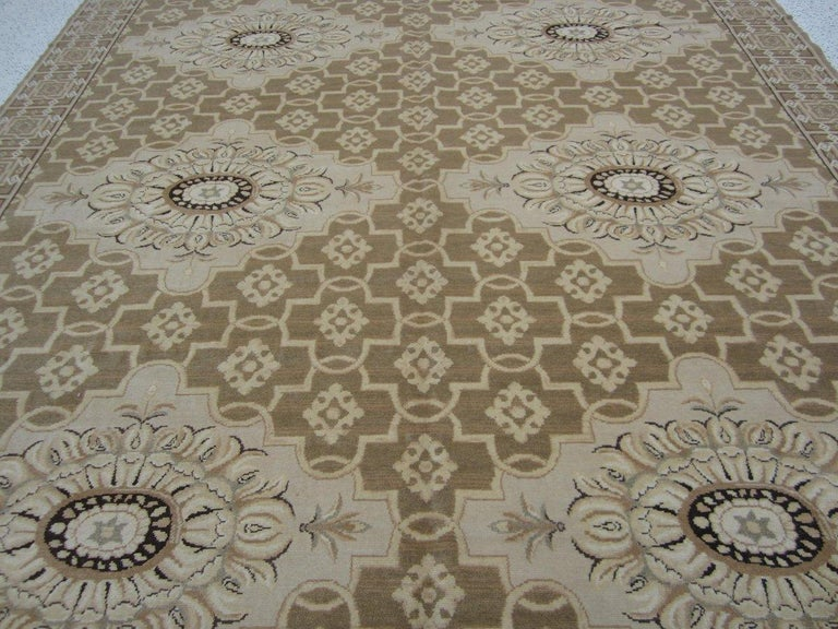 Hand-Knotted Floral Medallions Tan Rug For Sale