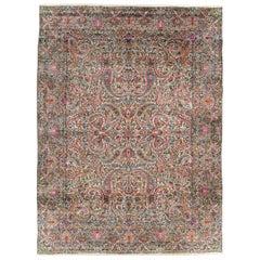 Floral Mid-20th Century Handmade Persian Lavar Kerman Room Size Rug