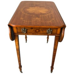 Floral Mixed Wood Inlay Drop-leaf Pembroke Side Table