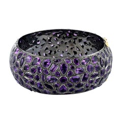 Floral Mosaic Style Amethyst Bangle in Silver