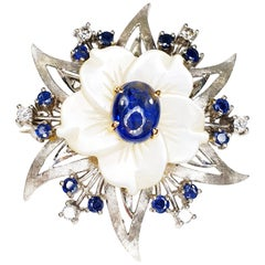 Floral Mother of Pearl White Gold Diamonds and Sapphire Brooche