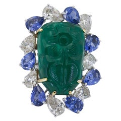 Floral Motif Carved Green Emerald, Sapphire and Diamond Cocktail Ring